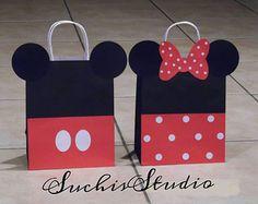 10 bolsas de chuchería rosa Minnie rojo Mickey / por SuchisStudio