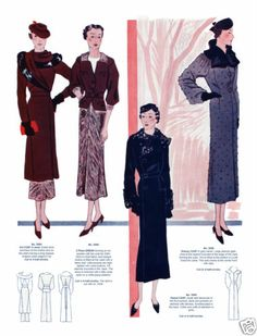 1935 Winter Eclair Coupe Paris Pattern Book Reprint Costumes Evening Gowns | eBay