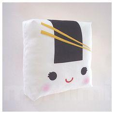 "Decorative Pillow, Onigiri Pillow, Sushi Pillow, Japanese Food, Cushion, Kawaii, Home Decor, Room Decor, Dorm, Childrens Toys, 7 x 7"""