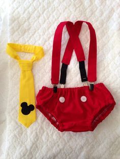 Cake Smash Outfit - Mickey Mouse - Diaper Cover, Suspenders & Velcro Tie - Photo Prop on Etsy, $36.00