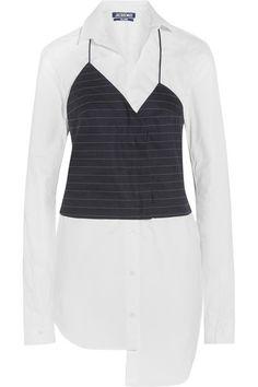 JACQUEMUS Stretch-Cotton Poplin And Pinstriped Linen-Blend Shirt Dress. #jacquemus #cloth #dresses