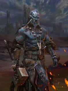 m Half Orc Barbarian WarHammer Wilderness Traveler ArtStation by Ligang Zheng lg Fantasy Warrior, Warrior Angel, Orc Warrior, Fantasy Races, Dark Fantasy Art, High Fantasy, Fantasy Rpg, Medieval Fantasy, Fantasy Artwork