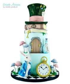 Alice in Wonderland by Crumb Avenue Alice In Wonderland Tea Party Birthday, Alice In Wonderland Cakes, Wonderland Party, Cake Topper Tutorial, Cake Toppers, Mad Hatter Cake, Cupcakes Decorados, Crazy Cakes, Disney Cakes