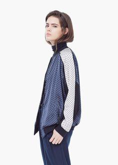 Contrast flowy jacket - Jackets for Women | MANGO