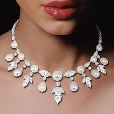 Irresistible opulence;natural pearls,marquise and brilliant-cut diamonds