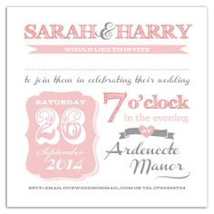 Personalised handmade wedding invitations Vintage Circus/Carnival Shabby Chic