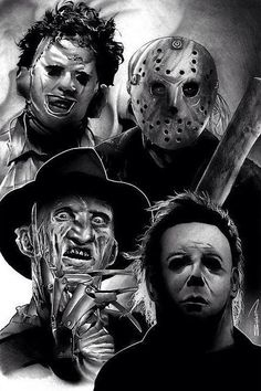 Horror Icons, in Randy Siplon's Black & White Comic Art Gallery Room Scary Movie Characters, Scary Movies, Horror Icons, Horror Movie Posters, Horror Movie Tattoos, Horror Drawing, Horror Artwork, Horror Pictures, Scary Monsters
