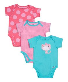 Love this Lamaze Blue, Pink & Coral Kitty Bodysuit Set - Infant by Lamaze on #zulily! #zulilyfinds