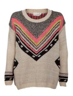 null (Multi Col) Cream Fluro Printed Yoke Knitted Jumper || New Look  29,99€