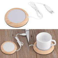 - Usb Wood Grain Cup Warmer Coffee Mug Warmer Keep Hot Cocoa Tea Water Hot Drinks & Garden Cocoa Tea, Mug Warmer, Portable Heater, Vacuum Cup, Cup Mat, Usb Gadgets, Desktop, Stainless Steel Cups, Milk Tea