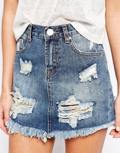 Enlarge Glamorous Petite Distressed Denim Skirt