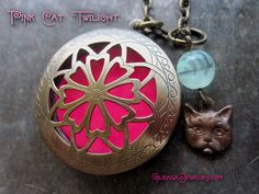Pink Cat Twilight Glow Locket with Charm and by MoniqueLula, $26.00