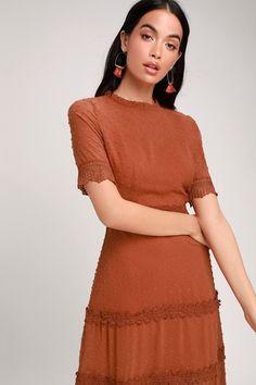 e75cbb10c8a5 Dreaming of You Rust Orange Swiss Dot Midi Dress Burnt Orange Dress