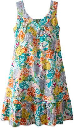 Floral Chemise Nightgown: The vibrant florals on woven cotton give this lovely gown ageless appeal, while the mid-length styling and soft v-neck flatter any figure.Womens Bold Floral Chemise Nightgown- like the nightgown not necessarily the print use Simple Dresses, Casual Dresses, Summer Dresses, Summer Clothes, Modest Fashion, Fashion Dresses, Fashion Clothes, Vetement Fashion, Nightgowns For Women