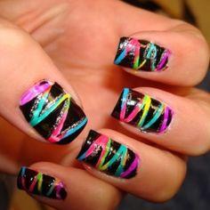 Beach Nail Art Designs I really like these nail-designs Creative Nail Designs, Cute Nail Designs, Creative Nails, Wild Nail Designs, Neon Nails, Love Nails, Pretty Nails, Rainbow Nails, Neon Rainbow