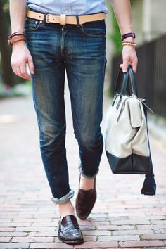 Loafers // Stitching on bag // Contrast from belt... YES #style #fashion #mens