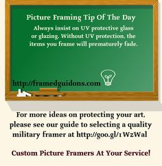 Protecting your art against premature deterioration starts with UV protective glass or glazing. We have written a comprehensive page on our website that discusses ways to protect framed art. Our website, http://framedguidons.com includes a comprehensive guide to selecting a quality military framer. More information can be found on our webpage by following the link to Guide To Quality Custom Military Framing at: http://framedguidons.com/custom-frames/guide-to-quality-custom-military-framing/