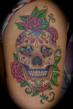 If you've never heard of Sugar Skull Tattoos, you're missing out! The sugar skull is quite intense and is very popular in Mexican culture with it's main symbol representing Dia de los Muertos or Day of