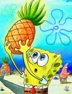Spongebob SquarePants holding a pineapple Cartoon Wallpaper, Cute Disney Wallpaper, Wallpaper Iphone Cute, Cute Wallpapers, Tumblr Wallpaper, Spongebob Painting, Spongebob Drawings, Cartoon Drawings, Spongebob Patrick
