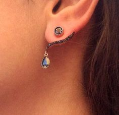 Sterling Silver Ear Jackets - Front Back Silver Earrings - Double Sided Rose…