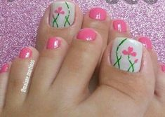 Make an original manicure for Valentine's Day - My Nails Pedicure Nail Art, Flower Pedicure, Pedicure Designs, Toe Nail Designs, Pink Pedicure, Gold Toe Nails, Pretty Toe Nails, My Nails, Cute Nails