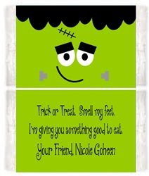 Halloween Frankenstein Face Popcorn Wrapper Party Favor Idea. These are a great, healthier alternative to handing out candy to trick-or-treaters.  Would also be good to send with your kids to school for their Halloween Party or a great gift for teachers to give to their students.