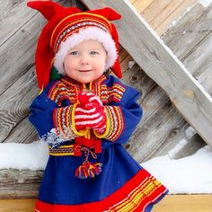 A little Lappish prince wearing Sámi-style clothes. Photo by: mondo_mio We Are The World, People Of The World, Folk Costume, Costumes, Lappland, Art Populaire, Thinking Day, My Heritage, Beautiful Children