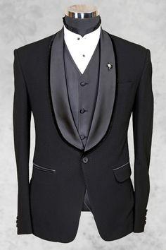 Black rich italian suit with shawl lapel-ST462 - Tuxedo Suits - Men's Suits - Men's Wear. FREE shipping world wide.