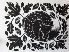 Fox in Leaves Lino Cut Print Woodcut Art, Linocut Prints, Acorn Tattoo, Print Image, Leaf Stencil, Chalk Pens, Litho Print, Cow Art, Window Art