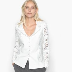 Very fashionable guipure lace jacket. Stylish neckline. Fastens with small buttons. Front inset and long sleeves in guipure lace.Product details • Blazer • Fitted cut • Length : short • Tailored collar• Length: 62cmFabric content and care advice • 32% viscose, 4% elastane, 64% polyester• Front yoke and long sleeves in 95% polyamide, 5% elastane guipure. • 100% polyester lining. 64% polyester, 32% viscose, 4% elastane. • Lining : 100% polyester. • Do not wash with water • Delicate cycle...