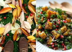 Poppy Seed-Crusted Butternut Squash with Kale and Pomegranates | My New Roots