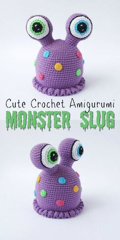 Amigurumi Crochet This is the only slug I remotely like! If only the slugs in my garden were this adorable! Part of an awesome monster pattern round up by Crochet Kids Hats, Crochet Gifts, Cute Crochet, Crochet Dolls, Halloween Crochet Hats, Crochet Monsters, Crochet Monster Hat, Easy Crochet Projects, Crochet Tutorials
