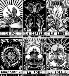 Set of 6 A4 Illustrated Tarot Card Prints based on the Major Arcana. Le Fol Le Diable La Lune Roue De Fortune La Mort Le Soleil  Each print is an A4 (paper size 21x29.7cm) inkjet print of my original illustration. They are printed on 220gsm heavy weight paper.  Each print is signed by the artist, and will posted together in a protective plastic sleeve and a hard backed envelope. (Prints are also for sale individually in my shop) All orders are shipped first class and should take 1-2 days…