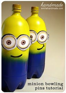 Minion Bowling                                                   6, 2 Liter bottles, washed them out and glued the lid onto them.  Then spray the top with yellow Krylon Fusion spray paint, I bought mine at Wal*Mart (it sticks to plastic with no prep).  Then spray the bottom blue. Print two sheets to get the 6 pairs needed.
