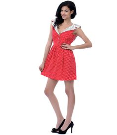 Red, White, & Black Polka Dot Collar Fit N Flare Dress #uniquevintage