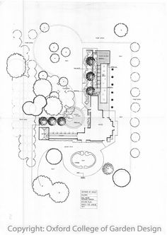One of my favourite garden plans.  Victorian detached house with garage and connecting cloister for addition sound proofing from street noise.  Sunken terrace with water feature to help mask traffic noise, longwater swimming pool designed to look like a formal pond, elevated raised terrace area at end of pool with views over farm land, 2.5m high garden wall dividing pool from rest of garden, lawns, meadow grass and formal drive.