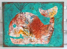 Whale Mixed Media Painting Turquoise Nursery Art by CarolaBartz