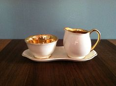 Vintage Gold Cream and Sugar on Matching Tray 3 by urbancondition, $22.50