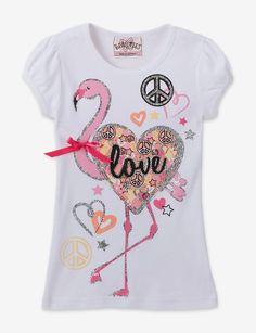 Beautees Flamingo Glitter Tee – Toddlers & Girls 4-6x