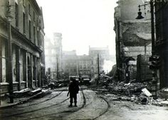 Belfast during the Blitz - Entire buildings razed at Bridge Street