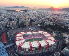 Olympiacos FC Georgios Karaiskakis Stadium Capacity: 33.296 Football Tops, Football Stadiums, European Football, Athens, Futuristic, Around The Worlds, Soccer, Challenges, City