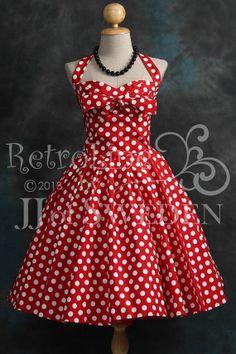 Polka dot patterned rockabilly dress. Designed handmade 50's Retro inspired halterneck S / M