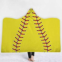 Pattern B, Kids 60 x 50 Irisbell Hooded Blanket Soft Wearable Blanket Baseball Softball Thicken Sherpa Throw Blanket Wrap Poncho for Adult and Kids