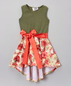 Loving this Dreaming Kids Green & Salmon Floral Hi-Low Dress - Infant, Toddler & Girls on #zulily! #zulilyfinds