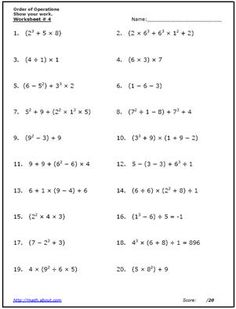 practice the order of operations with these free math worksheets free math worksheets free. Black Bedroom Furniture Sets. Home Design Ideas