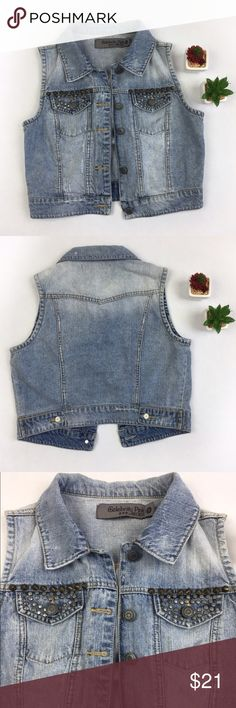 CELEBRITY PINK DENIM STUDDED VEST SZS Funky Celebrity pink denim studded vest in size small. Super cute and edgy. Pre loved item with signs of wear but no stains or holes. The details on denim are part of the design, please check the pictures. Love it? Make an offer! Questions? Ask me 😉🌹💖 Celebrity Pink Tops
