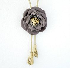 Handmade Purple Leather Flower Necklace on Beige Suede Cord. Special Leather Jewelry.. $55.00, via Etsy.
