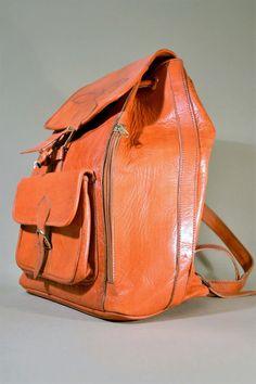 Vintage Cognac Colored Leather Bag Backpack by AllVintageBags