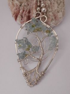 Wire Wrapped Bonsai Tree of Life Pendant Necklace, Aqua Marine & Peridot in Sterling Silver, Handmade Wire Tree Jewelry