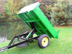 Trailer Hoist System, by Compact Tractor Attachments, Atv Attachments, Atv Trailers, Dump Trailers, Trailer Plans, Trailer Build, Diy Welding, Welding Projects, Homemade Trailer